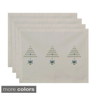 White Print Decorative Tri Holiday Trees Table Top Placemat (Set of 4)