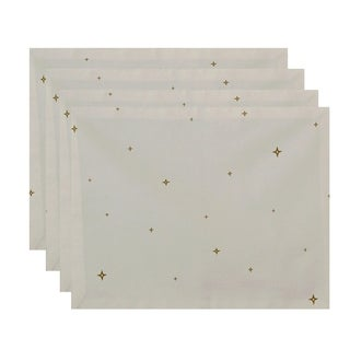 White Small Star Geometric Print Decorative Holiday Table Top Placemat (Set of 4)