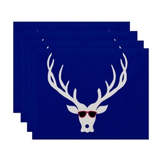 Cool Deer Print Decorative Holiday Table Top Placemat (Set of 4)