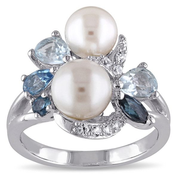 Miadora Sterling Silver Cultured Freshwater Pearl Topaz and Created White Sapphire Cocktail Ring