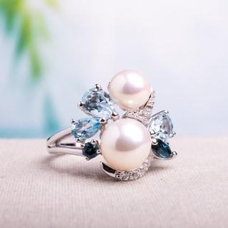Miadora Cultured Freshwater Pearls with Clustered Blue Topaz Duo and Created White Sapphire Cocktail Ring in Sterling Silver