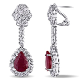 Miadora Signature Collection 14k White Gold Ruby and 2 3/4ct TDW Diamond Teardrop Dangle Earrings (G-H,SI1-SI2) - Red