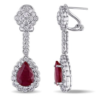 Miadora Signature Collection 14k White Gold Ruby and 2 3/4ct TDW Diamond Teardrop Dangle Earrings (G-H,SI1-SI2)