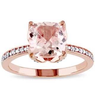 Miadora Signature Collection 10k Rose Gold Morganite and Diamond Accent Engagement Ring