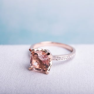 10k Rose Gold Cushion-Cut Morganite and Diamond Engagement Ringby The Miadora Signature Collection