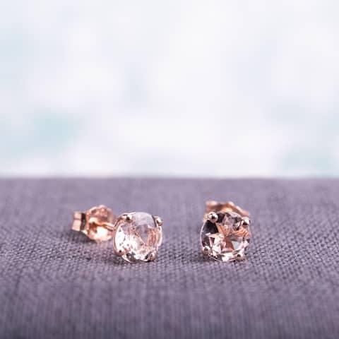 Miadora 10k Rose Gold 1ct TGW Morganite Solitaire Stud Earrings - Pink