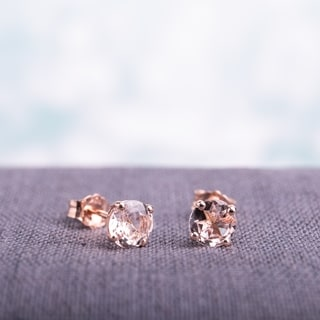 Miadora 10k Rose Gold 1ct TGW Morganite Solitaire Stud Earrings