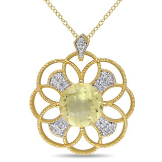 Miadora Yellow Plated Sterling Silver Lemon Quartz, White Topaz and Diamond Accent Flower Necklace
