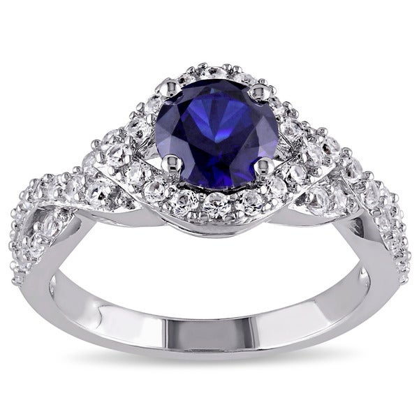 Miadora Sterling Silver Created Blue and White Sapphire Crossover Engagement Ring