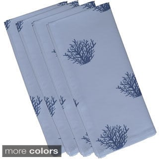 Coastal Oceanic Coral Print 10-inch Table Top Napkin