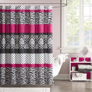pink grey shower curtain. Mi Zone Gemma Microfiber Shower Curtain Pink Curtains For Less  Overstock com Vibrant Fabric
