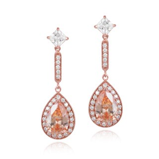 ICZ Stonez 18k Rose Gold over Sterling Silver Champagne Cubic Zirconia Teardrop Dangle Earrings