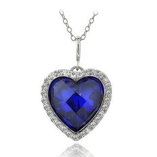 ICZ Stonez 18k Gold over Silver or Sterling Silver Blue Cubic Zirconia Heart Necklace