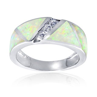 Glitzy Rocks Sterling Silver Synthetic Opal and Cubic Zirconia Band Ring