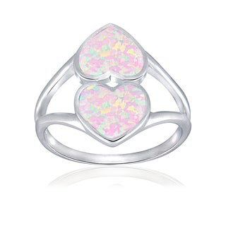Glitzy Rocks Sterling Silver Synthetic Opal Double Heart Ring