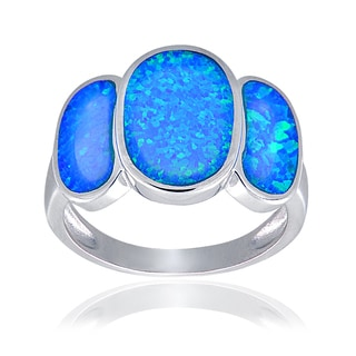 Glitzy Rocks Sterling Silver Synthetic Opal Triple Oval Ring