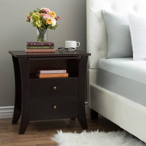 Furniture of America Mendolla Modern Espresso 2-drawer Nightstand