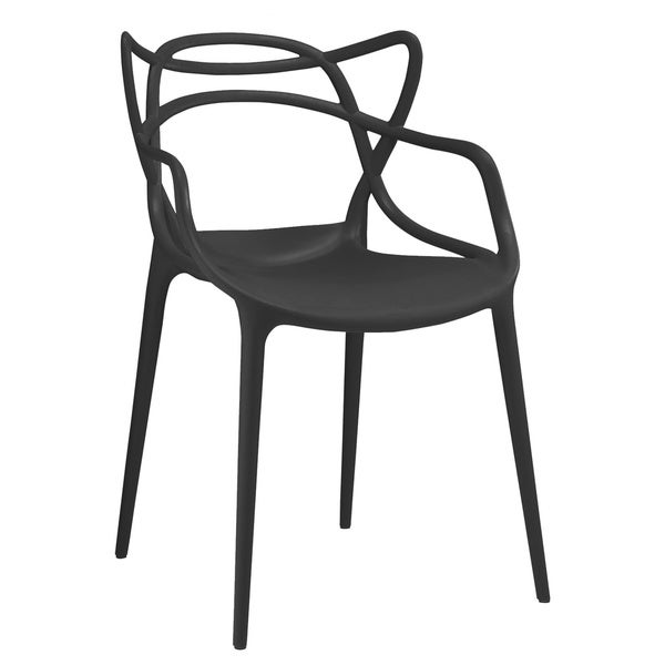 Masters Polypropylene Black Modern Stackable Arm Chair Set of 4