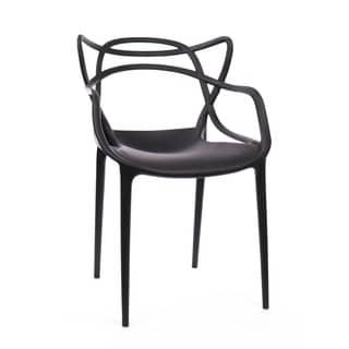 Masters Polypropylene Black Modern Stackable Arm Chair (Set of 4)