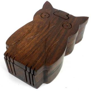 Handcrafted Sheesham Wood Owl Puzzle Box (India)