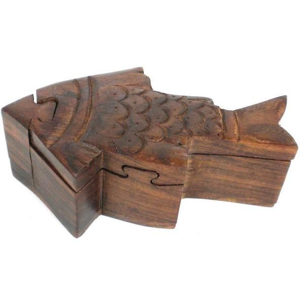 Handmade hand crafted sheesham wood fish puzzle box india for Handcrafted or hand crafted
