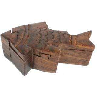 Hand Crafted Sheesham Wood Fish Puzzle Box (India)
