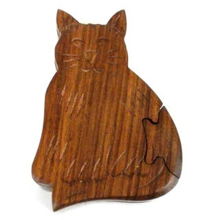 Handcrafted Sheesham Wood Cat Puzzle Box (India)