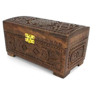 Handcrafted Carved Mango Wood Chest with Latch (India)