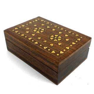 Handcrafted Sheesham Wood and Inlaid Brass Hearts Box (India)