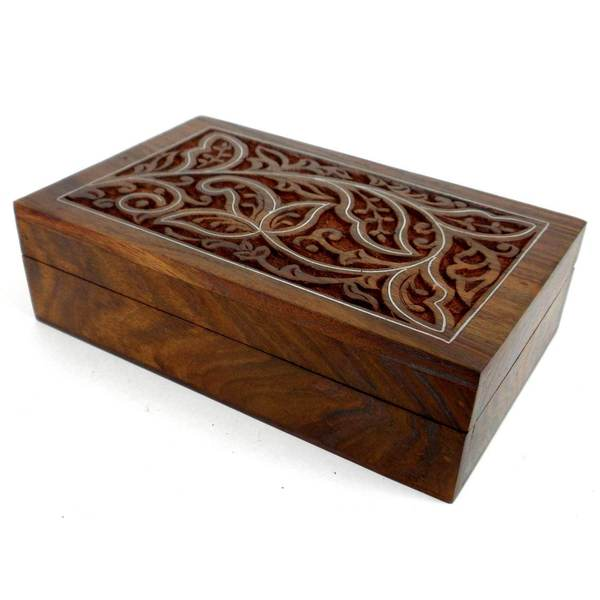 Shop Handmade Carved Sheesham Wood Box With Pewter Inlay
