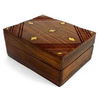 Handcrafted Sheesham Wood and Inlaid Brass Box (India)