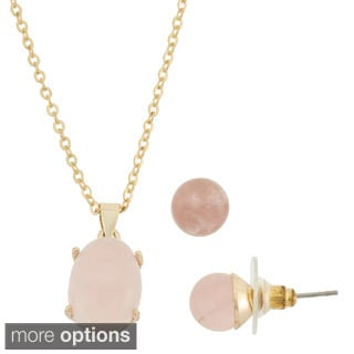 Isla Simone Semi Precious Goldplated Necklace and Earring Set