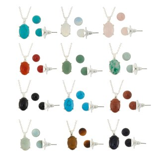 Isla Simone Semi Precious Gemstone Silver Plated Necklace and Earring Set