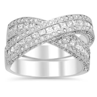 14k White Gold 3 1/2ct TDW Diamond X Engagement Ring (E-F, VS1-VS2)