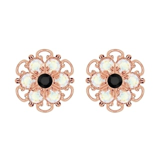 Lucia Costin Rose-gold Over Sterling Silver Black/ White Crystal Earrings