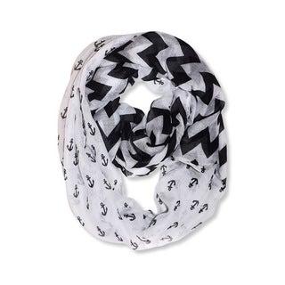All Seasons White/ Black Anchor Chevron Print Infinity Loop Scarf