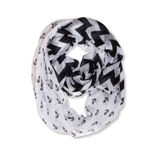 All Seasons White/ Black Anchor Chevron Print Infinity Loop Scarf