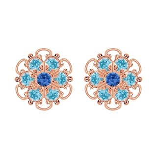 Lucia Costin Rose-gold Over Sterling Silver Blue/ Light Blue Crystal Earrings
