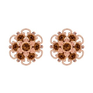 Lucia Costin Rose-gold Over Sterling Silver Brown Crystal Earrings