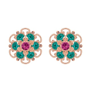 Lucia Costin Rose-gold Over Sterling Silver Fuchsia/ Green Crystal Earrings