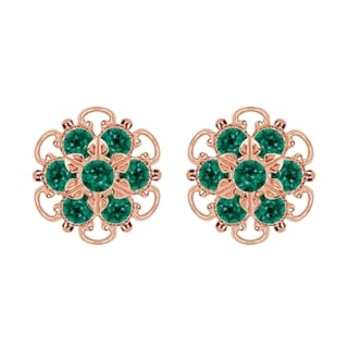 Lucia Costin Rose-gold Over Sterling Silver Green Crystal Earrings