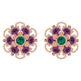 Lucia Costin Rose-gold Over Sterling Silver Green/ Violet Crystal Earrings
