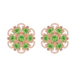 Lucia Costin Rose-gold Over Sterling Silver Light Green Crystal Earrings