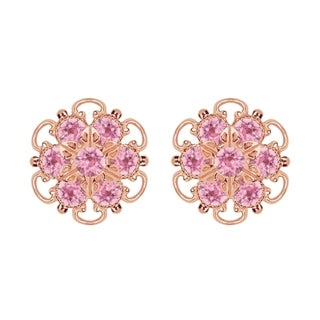 Lucia Costin Rose-gold Over Sterling Silver Light Pink Crystal Earrings
