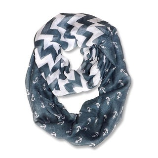 All Seasons Grey/ White Anchor Chevron Print Infinity Loop Scarf