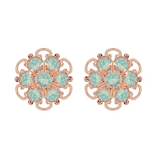Lucia Costin Rose-gold Over Sterling Silver Mint Blue Crystal Earrings