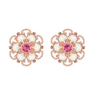 Lucia Costin Rose-gold Over Sterling Silver Pink/ White Crystal Earrings