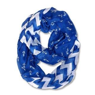 All Seasons Blue/ White Anchor Chevron Infinity Loop Scarf