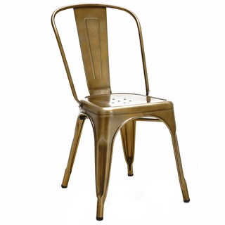 Dreux Stackable Vintage Brass Steel Side Chair (Set of 4)