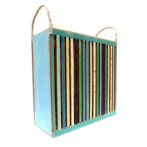 Handmade Recycled Wood Beach Stripes Magazine Bin (Thailand)